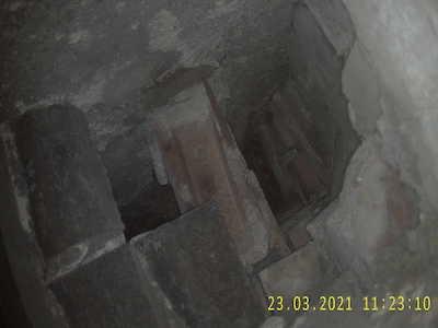 Protruded brick chimney